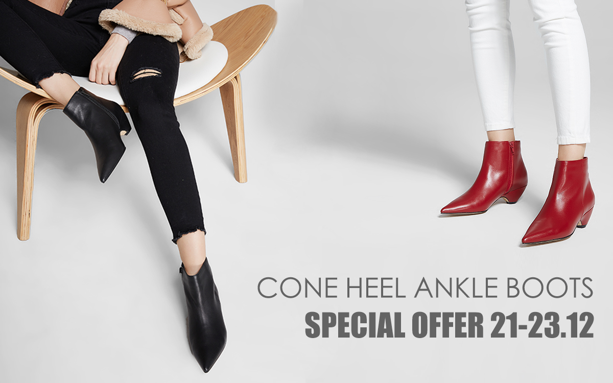 Special Offer - Cone Heel Ankle Boots