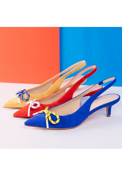 BOW SLINGBACK HIGH HEELS