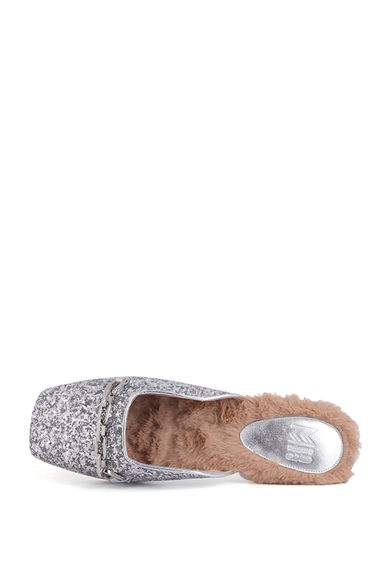 METALLIC CHAIN MULES